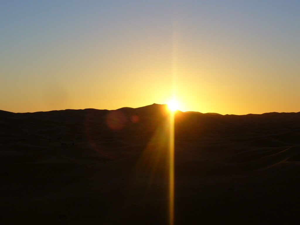 Watching the sunrise in the desert