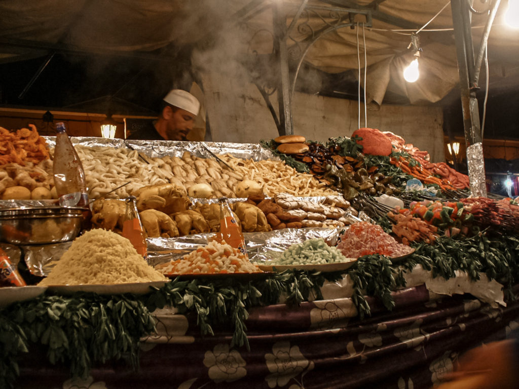 A food stall at the night market in Djema el Fnaa | Tips for visiting Marrakech